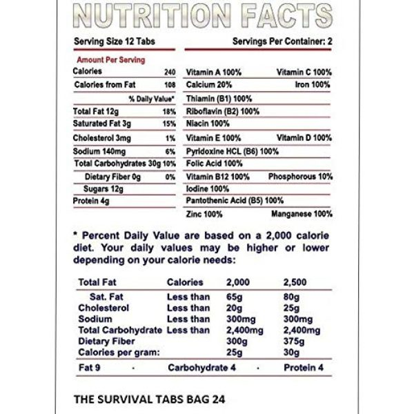 The Survival Tabs Emergency Survival Food 3 S.O.S. Rations Emergency Food Ration Survival Tabs- 2 days Package Gluten Free and Non-GMO 25 Years Shelf Life (24-tab pouch - Strawberry)