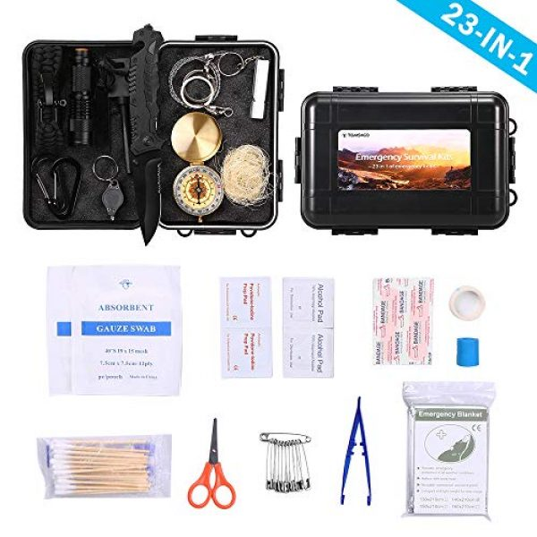 TOMSHOO Survival Kit 1 TOMSHOO Survival Kit First Aid Kit 23 in 1 -Camping Survival Kit Emergency Survival Kit with Survival Bracelet, Fire Starter, Whistle, Wood Cutter 63PCS Included