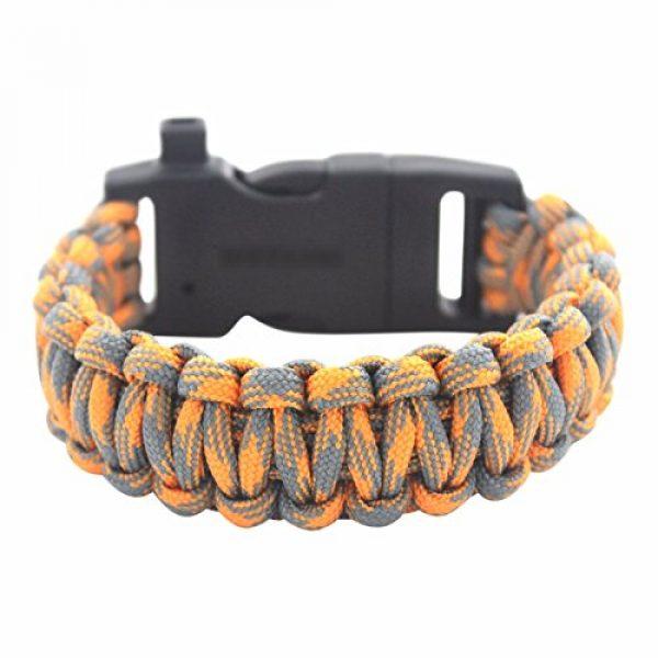 "Core Survival Survival Bracelet 6 Core Survival Paracord Survival Bracelet - Hiking Multi Tool, Emergency Whistle, Compass for Hiking, Camp Fire Starter 5-in1 Set (Orange/Grey, 10.5"" Large)"