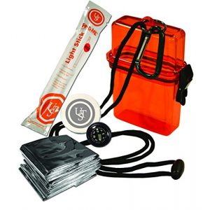 UST Survival Kit 1 UST Watertight Survival Kit 1.0 with Durable, Lightweight Construction, Survival Blanket and Emergency Tools while Camping, Hiking and Outdoor Survival