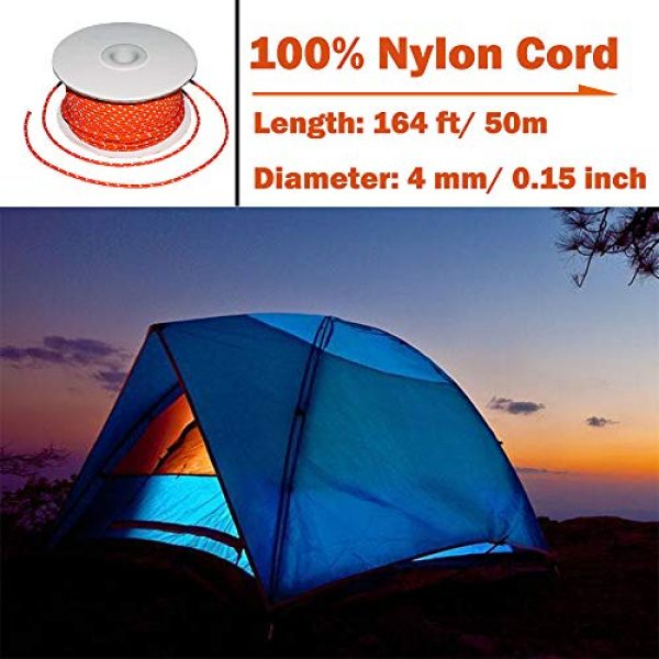 TOGRAND Survival Line 2 164 Feet Length, 4mm Diameter, Reflective Tent Guyline, 100% Nylon Material Cord, High Visibility Tent Rope for Rain Tarps, Tents, Hiking, Camping and Survival Kits(1 Pack)