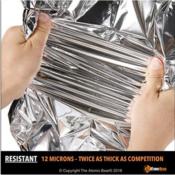 The Atomic Bear Survival Kit 4 Emergency Blanket or Space Blankets - Ideal as a Survival Thermal Protection - Very Light Double Sided Sheet of Mylar Foil - Best for Bug Out Bag (BOB), EDC, First Aid Kit, Hiking, Camping, Hunting, F