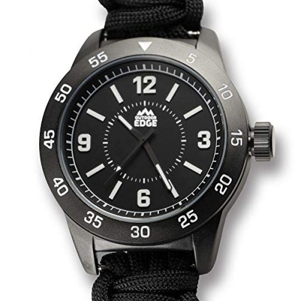 Outdoor Edge Survival Watch 4 Outdoor Edge Zinc ParaClaw CQD Survival Watch with Black Heavy Duty Paracord Bracelet, 1.5 Inch Knife Blade