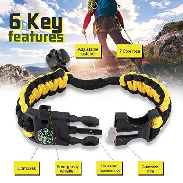 HNYYZL Survival Bracelet 4 HNYYZL 3 Pack Paracord Bracelet Survival- 6 in 1- Adjustable FHNYYZL 3 Pastener, Compass, Fire Starter, 7 Core Rope, Whistle and Emergency Knife, Compact & Portable for Someone Enjoy Camping, Outdoor