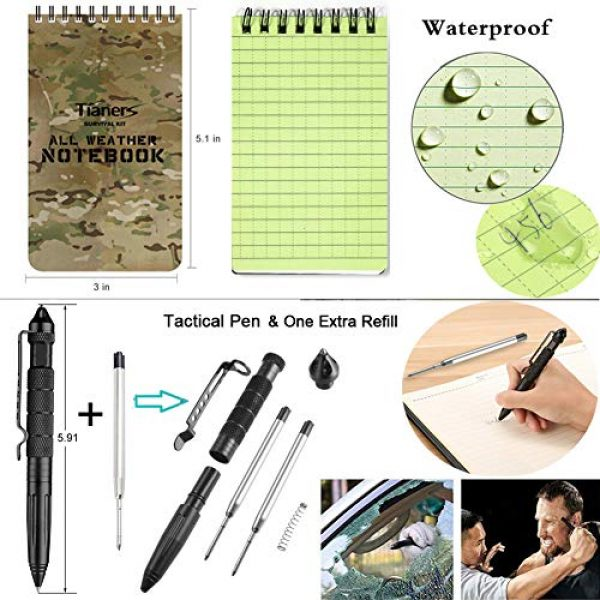 Tianers Survival Kit 5 Tianers Gifts for Men Husband Dad Friend, Emergency Survival Kit 16 in 1, Upgrade Compact Survival Gear, Cool EDC Survival Tool for Cars, Camping, Hiking, Hunting, Fishing, Adventure Accessorie