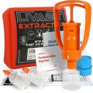 LIVABIT Survival Kit 1 LIVABIT Snake Bite Kit, Bee Sting Kit, Emergency First Aid Venom Extractor Suction Pump for Camping, Hiking and Backpacking