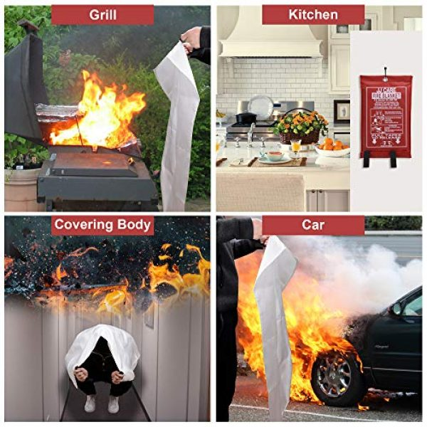 "JJ CARE Survival Fire Blanket 5 JJ CARE Fire Blanket Fire Suppression Blanket, Fire Blanket Kitchen, Fire Emergency Blanket, Fire Retardant Blankets, Fiberglass, Fire Safety Blanket for Camping-Kitchen-Car Emergency 40""x40"" +3 Hooks"