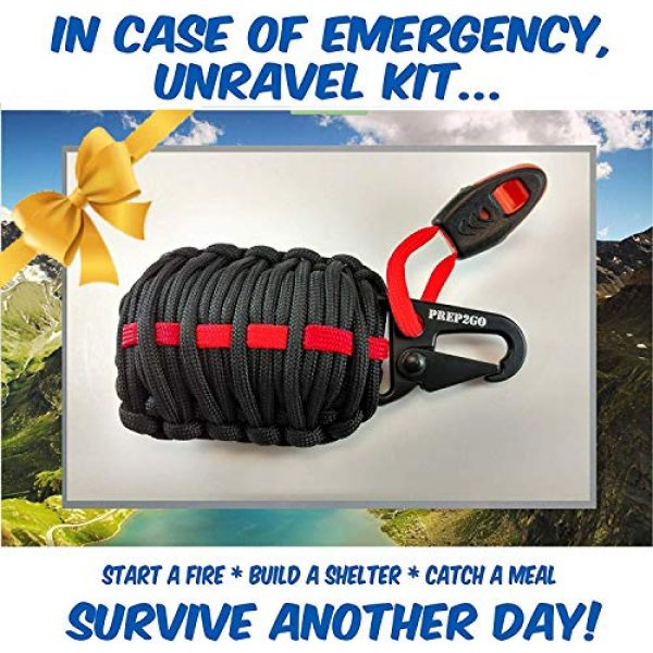 PREP2GO Survival Kit 3 PREP2GO Paracord Survival Grenade (30pc) Kit with (4) Water Purification Tablets-Husband Dad Boyfriend Girl Teen Prepper Camping Hiking Hunting Gear Gift-Get Fire Food and Shelter When Lost