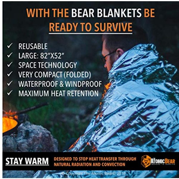 The Atomic Bear Survival Kit 3 Emergency Blanket or Space Blankets - Ideal as a Survival Thermal Protection - Very Light Double Sided Sheet of Mylar Foil - Best for Bug Out Bag (BOB), EDC, First Aid Kit, Hiking, Camping, Hunting, F