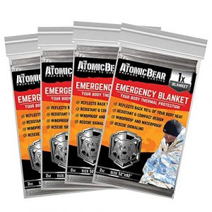 The Atomic Bear  1 Emergency Blanket or Space Blankets - Ideal as a Survival Thermal Protection - Very Light Double Sided Sheet of Mylar Foil - Best for Bug Out Bag (BOB)