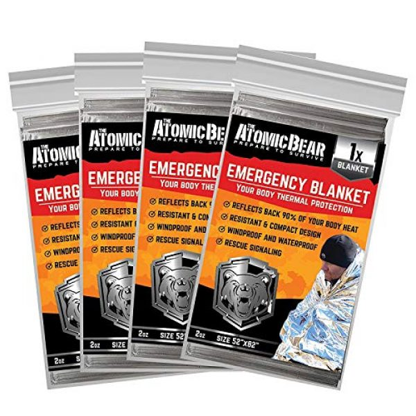 The Atomic Bear Survival Kit 1 Emergency Blanket or Space Blankets - Ideal as a Survival Thermal Protection - Very Light Double Sided Sheet of Mylar Foil - Best for Bug Out Bag (BOB), EDC, First Aid Kit, Hiking, Camping, Hunting, F