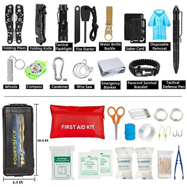 CHAREADA Survival Kit 2 Emergency Survival Kit 37 in 1, Survival Gear Tool Kit SOS Survival Tool Emergency Blanket Tactical Pen Flashlight Pliers Wire Saw for Wilderness Camping Hiking First Aid Survival Kit for Earthquake