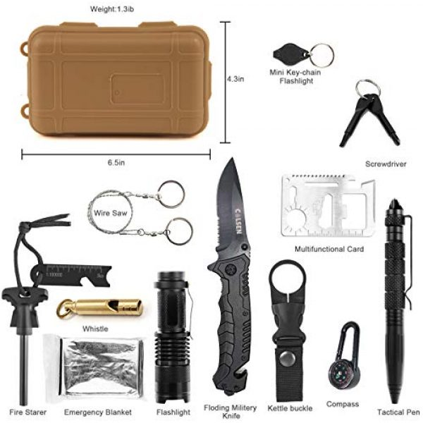 colsen Survival Kit 4 colsen Emergency Survival Kit 13 in 1, Outdoor Survival Gear Tool with Fire Starter, Whistle, Wood Cutter, Water Bottle Clip, Tactical Pen and More