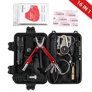 DONGKER  1 DONGKER Survival First Aid Kit Emergency Survival Kit Upgraded 2-1 First Aid Supply Compatible Outdoor Survival Gear Tactical Gear Molle Trauma Bag for Camping Hunting Hiking Home Outdoor