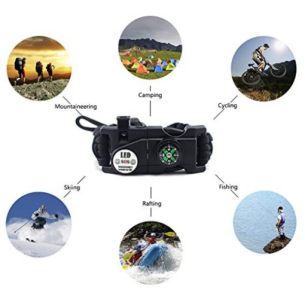 MansWill Survival Bracelet 5 MansWill Adjustable Survival Bracelet, 7 Core Paracord 20 in 1 Emergency Sports Wristband Gear Kit Waterproof LED SOS Light, Compass, Rescue Whistle, Fire Starter Multi-Tool Wilderness Adventure