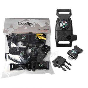 "CooBigo Survival Kit 1 10pcs Pack Black 5/8"" Compass Flint Scraper Fire Starter Whistle Buckle Plastic Paracord Bracelet Outdoor Camping Emergency Survival Travel Kits #FLC158-FWC(Black)"