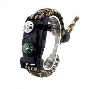 MansWill Survival Bracelet 1 MansWill Adjustable Survival Bracelet, 7 Core Paracord 20 in 1 Emergency Sports Wristband Gear Kit Waterproof LED SOS Light, Compass, Rescue Whistle, Fire Starter Multi-Tool Wilderness Adventure