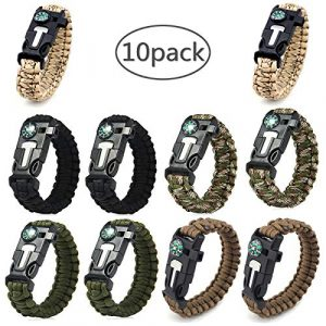 AOOTOOSPORT Survival Bracelet 1 AOOTOOSPORT Survival Paracord Bracelets, 10 Pack Kit Outdoor Survival Bracelet Camping Fishing Hiking Gear with Compass, Fire Starter, Whistle and Emergency Knife