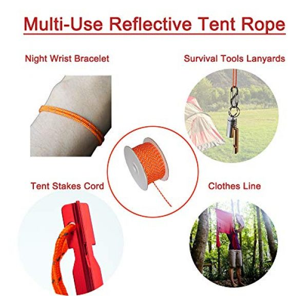 TOGRAND Survival Line 6 164 Feet Length, 4mm Diameter, Reflective Tent Guyline, 100% Nylon Material Cord, High Visibility Tent Rope for Rain Tarps, Tents, Hiking, Camping and Survival Kits(1 Pack)