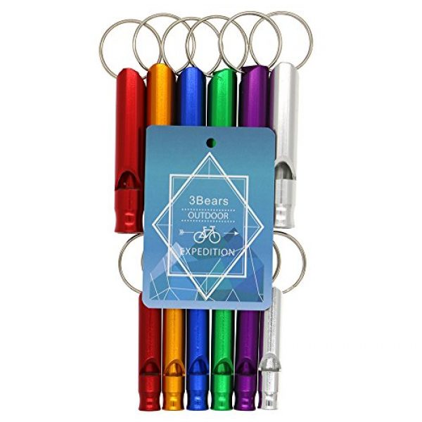 3 Bears Survival Whistle 2 3 Bears Emergency Survival Aluminum Whistle Key Chain for Hiking Camping Climbing(Large and Small Sizes, Red,Yellow,Blue,Green,Purple,Silver, Pack of 6 or 12)