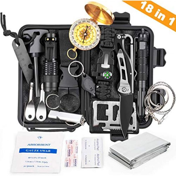 KOSIN Survival Kit 1 KOSIN Survival Gear, 18 in 1 Emergency Survival Kit, Professional Tactical Defense Equitment Tool with Knife Blanket Bracelets Backpack Temperature Compass Fire Starter for Adventure Outdoors Sport
