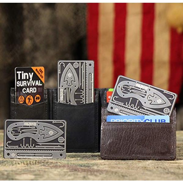 ULTIMATE SURVIVAL TIPS BE PREPARED-BECAUSE YOU NEVER KNOW Survival Kit 2 Tiny Survival Card: A 17-Tool Survival Kit with Knife That Fits in Your Wallet - Ultimate EDC, Multitool Card for Your Wallet - Great Gift!