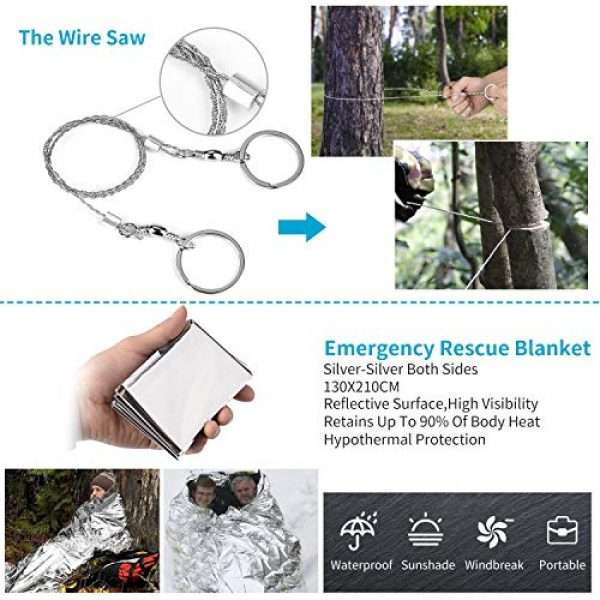 JINAGER Survival Kit 4 Jinager Survival Gear Kits Outdoor Survival Gear Tool for Trip,with Fire Starter, Whistle, Wood Cutter, Tactical Pen for Camping, Hiking, Climbing for Wilderness/Trip/Cars/Hiking/Camping