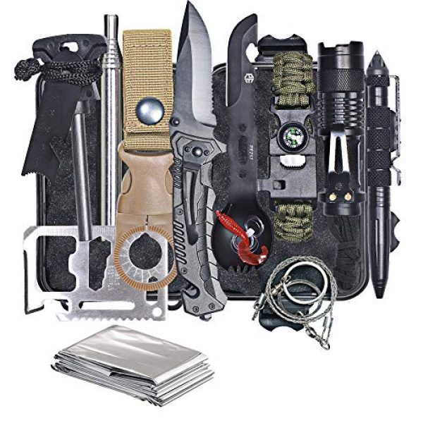 HMMS Survival Kit 1 HMMS Emergency Survival Kit 13 in 1, Mini Survival Equipment Kit Outdoor Survival Tools | Outdoor Hiking Fishing Hunting Backpack | For Adventure Outdoor Camping Sports Travel Hiking
