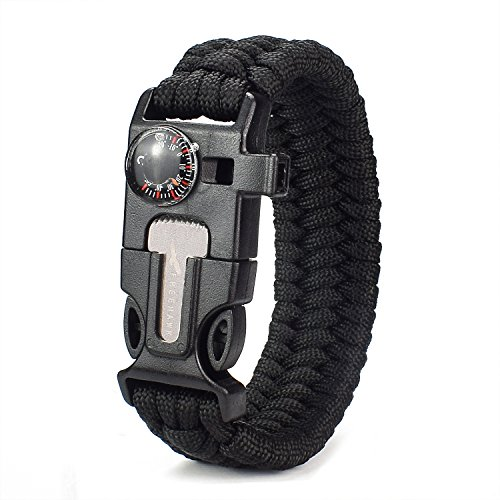 ViMall  1 Freehawk Tactical Outdoor Survival Paracord Bracelet/Emergency Kit with Thermometer Fire Starter Scraper Whistle Kit-Parachute Cord-Escape Survival Gear Pack for Fishing