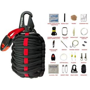 PREP2GO Survival Kit 1 PREP2GO Paracord Survival Grenade (30pc) Kit with (4) Water Purification Tablets-Husband Dad Boyfriend Girl Teen Prepper Camping Hiking Hunting Gear Gift-Get Fire Food and Shelter When Lost