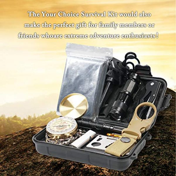 Your Choice Survival Kit 3 Your Choice Emergency Survival Kit 13 in 1, Camping Hunting Gear with Survival Blanket, Fire Starter, Whistle, Tactical Pen, Compass, Flashlight for Car Outdoor Adventures