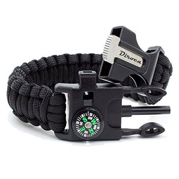 Diroca Survival Bracelet 5 Paracord Bracelet Survival Kit | Black 550 Parachute Cord | 5 in 1 Tactical Set w/ Compass, Fire Starter, Knife, Whistle & Rescue Rope | Outdoor Emergency Gear | Waterproof | 2Pcs + Monkey Keychain