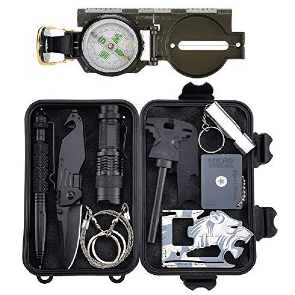 Tianers Survival Kit 1 Tianers Emergency Survival Kit 16 in 1, Upgrade Compact Survival Gear, Tactical Survival Tool for Cars, Camping, Hiking, Hunting, Adventure Accessorie (Survival Kit 11 in 1)