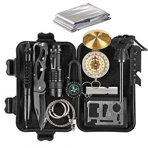 HAITRAL Survival Kit 1 HAITRAL Survival Gear Kits, 12-in-1 Outdoor Emergency Survival Gear with Emergency Blanket, Fire Starter, Flashlights for Camping, Hiking