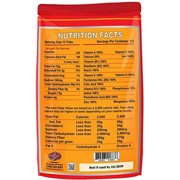 The Survival Tabs Emergency Survival Food 2 S.O.S. Rations Emergency Food Ration Survival Tabs- 2 days Package Gluten Free and Non-GMO 25 Years Shelf Life (24-tab pouch - Strawberry)