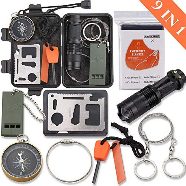 Monoki Survival Kit 1 Emergency Survival Kit, Monoki 9-In-1 Compact Outdoor Survival Gear Kits Portable EDC Emergency Survival Tools Set with Gift Box for Camping Hiking Hunting Climbing Travelling or Wilderness Adventures