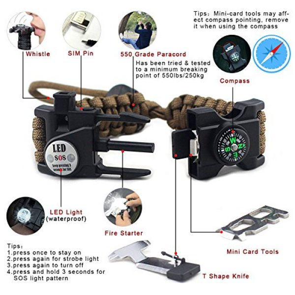 Louistank Survival Kit 3 Louistank Emergency Survival Kit,Survival Gear with Paracord BraceletMultitool,Emergency Blanket,CompassFire Starer,SOS Light,Whistle,Survival Knife,for Outdoor Hiking Camping Climbing Adventures