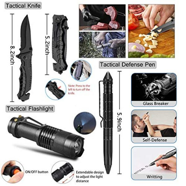 SUWIKEKE Survival Kit 4 SUWIKEKE Survival Kit, Upgraded 14 in 1 Survival Gear Tool, Professional Camping Gear for Hiking Climbing Travelling Wilderness Adventures
