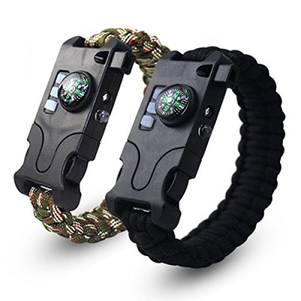Webeauty Survival Bracelet 1 Webeauty Paracord Survival Bracelet Rechargeable - 1Pc/2Pcs Survival Gear Emergency Kit with LED Flashlight, Compass, Loud Whistle, Laser Infrared for Outdoor, Hiking, Camping and Travelling