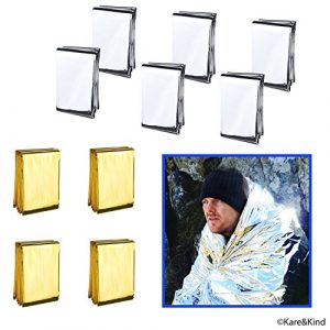 Kare & Kind Survival Kit 1 Emergency Mylar Thermal Blankets - 10-Pack (4x Gold, 6x Silver) - Up to 90% Heat Retention - Essential First Aid Kit item for Camping, Hiking and Survival Trips - 83x63inch - Individually Packed
