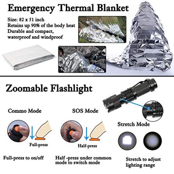 Your Choice Survival Kit 6 Your Choice Emergency Survival Kit 13 in 1, Camping Hunting Gear with Survival Blanket, Fire Starter, Whistle, Tactical Pen, Compass, Flashlight for Car Outdoor Adventures
