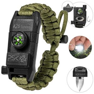 A2S Protection  1 A2S Protection PSK Paracord Bracelet 8-in-1 Personal Survival Kit Urban & Outdoors Survival Knife