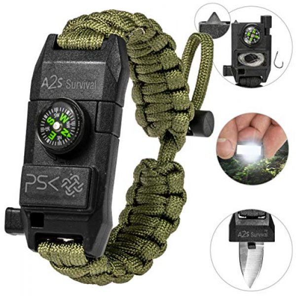 A2S Protection Survival Bracelet 1 A2S Protection PSK Paracord Bracelet 8-in-1 Personal Survival Kit Urban & Outdoors Survival Knife, Fire Starter, Glass Breaker, Survival Whistle, Signal Mirror, Fishing Hook & String, Compass