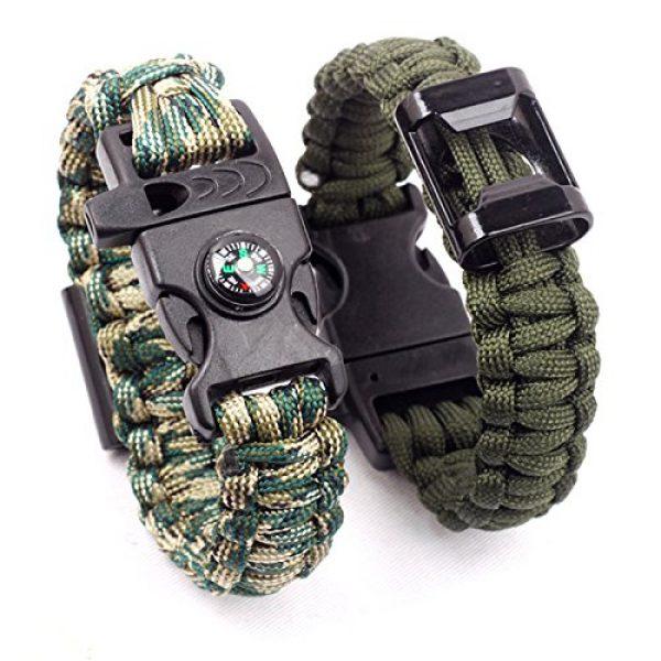 Q4Home Survival Bracelet 5 Q4Home Paracord Survival Bracelet; 5 in 1 Survival Bracelets Kit. Paracord, Fire-Starter Flint, Whistle, Compass, Multi Tactical Tool.