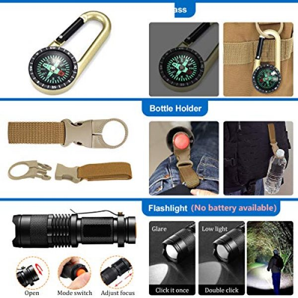 KITPIPI Survival Kit 6 KITPIPI Survival Gear Kit 27 Pieces Outdoor Survival Tool Emergency Camping Gear with Compass Flintstones Saber Card Styptic for Adventure Outdoors Sport Best Gift for Men Boys