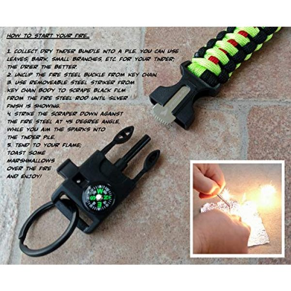 PREP2GO Survival Keychain 5 PREP2GO Paracord Survival Keychain-Compass Whistle Firestarter Kit-Cool Gadget Gifts for Husband Dad Men Him or Her-Camping Hiking Hunting-Mom,Teen Girl Boy Scout Can Get Fire & Shelter in Emergency!