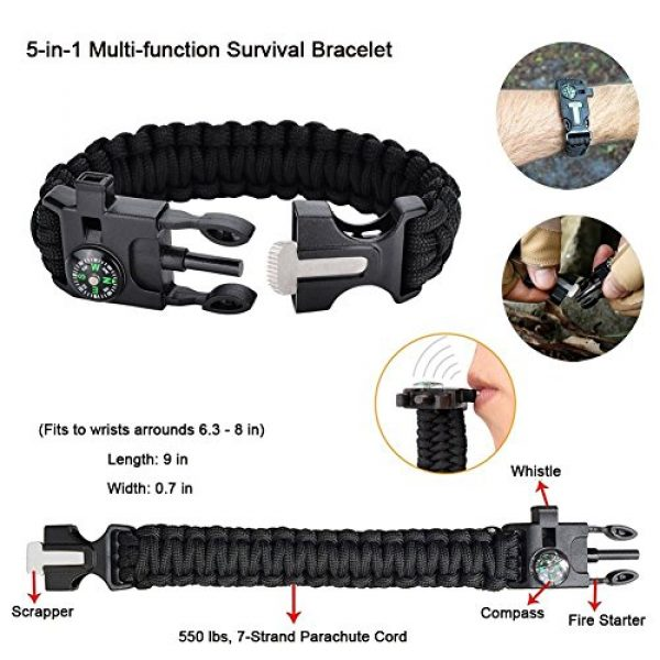 XUANLAN Survival Kit 5 XUANLAN Emergency Survival Kit 15 in 1, Outdoor Survival Gear Tool with Survival Bracelet, Fire Starter, Whistle, Wood Cutter, Water Bottle Clip, Tactical Pen