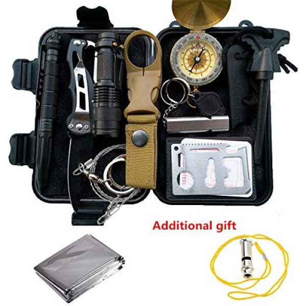 POTEGAR Survival Kit 1 POTEGAR Survival Gear Kits 14 in 1- Outdoor Emergency SOS Survive Tool for Wilderness/Trip/Cars/Hiking/Camping Gear - Wire Saw, Emergency Blanket, Flashlight, Tactical Pen, Water Bottle Clip ect