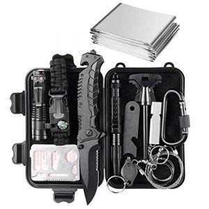 JINAGER Survival Kit 1 Jinager Survival Gear Kits Outdoor Survival Gear Tool for Trip,with Fire Starter, Whistle, Wood Cutter, Tactical Pen for Camping, Hiking, Climbing for Wilderness/Trip/Cars/Hiking/Camping