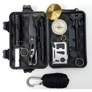 Ailand Survival Kit 1 Emergency Survival Kit with Mini Paracord Fishing Kit for Camping, Hiking, Hunting, Travel, Wilderness Survival Adventure Kit for Disaster Preparedness + Bug Out Bags, Fits in Glovebox